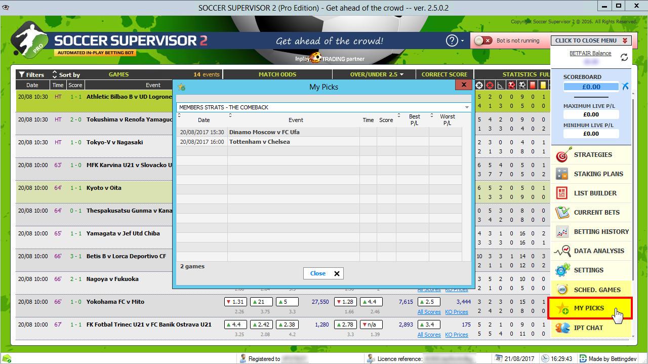 SOCCER SUPERVISOR 2 PRO - Inplay Betting Soccer Bot